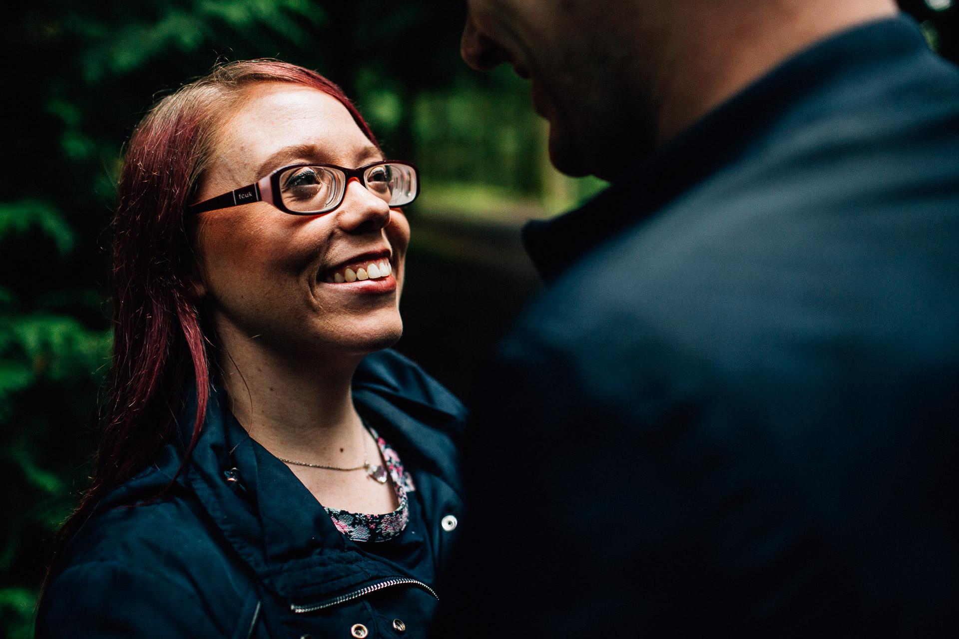 Whinlatter Pre Wedding Shoot Lake District - N&P - close shot of brides face